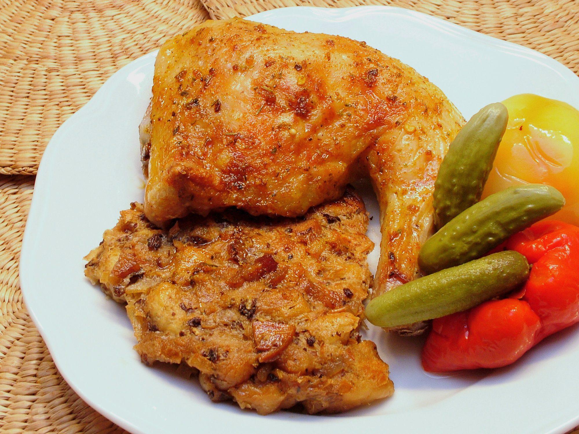 Pečené alebo grilované kura s plnkou